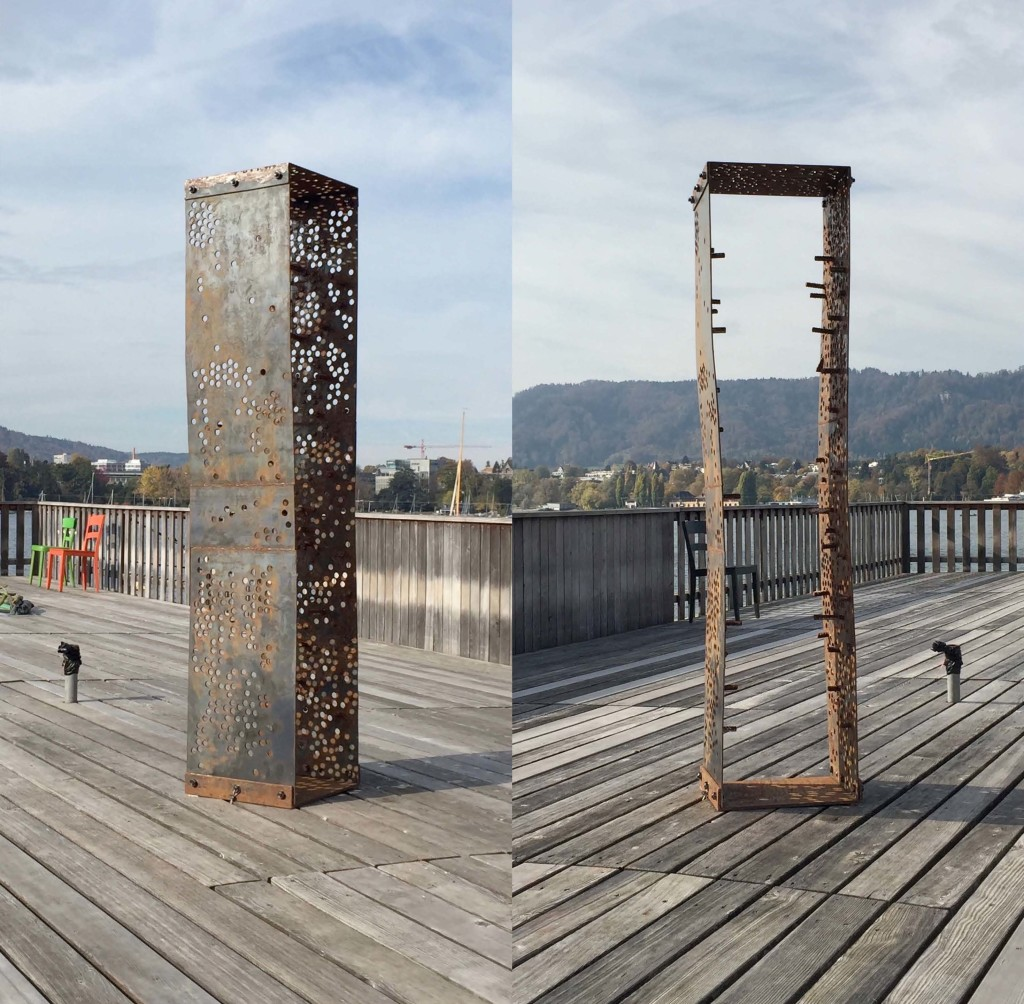 Passage, 2017, Steel, 1800 x 400 x 400mm.  A frame which is on the one side closed, like a box, and on the other open. It offers a way through. Steel protrusions on the inside adds an element of risk to the process of passing through.