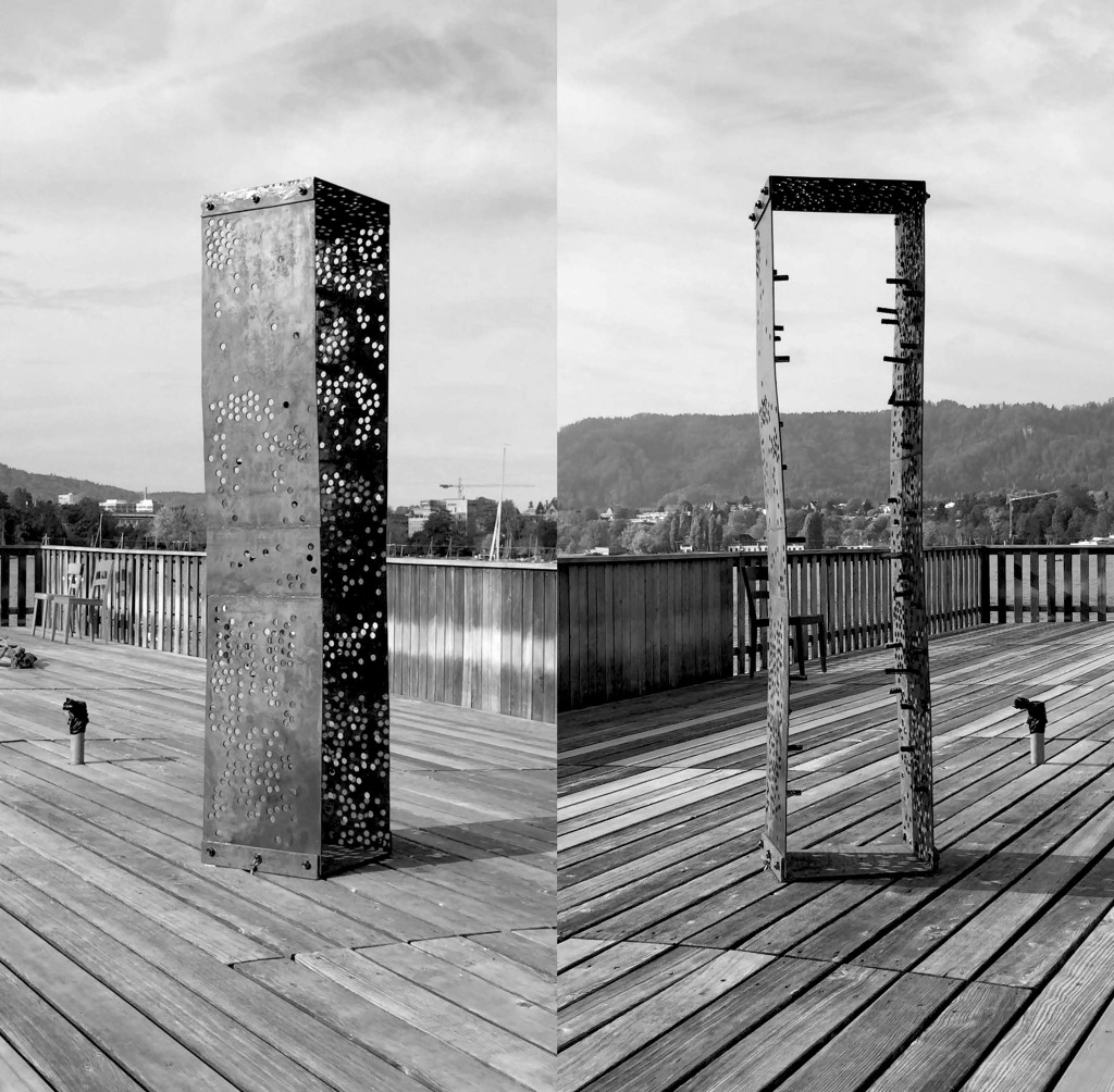 Passage, 2017 (side and front view), Steel, 180 x 40 x 40cm