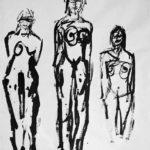 Figures, 2004, Ink on Paper, 100 x 70cm